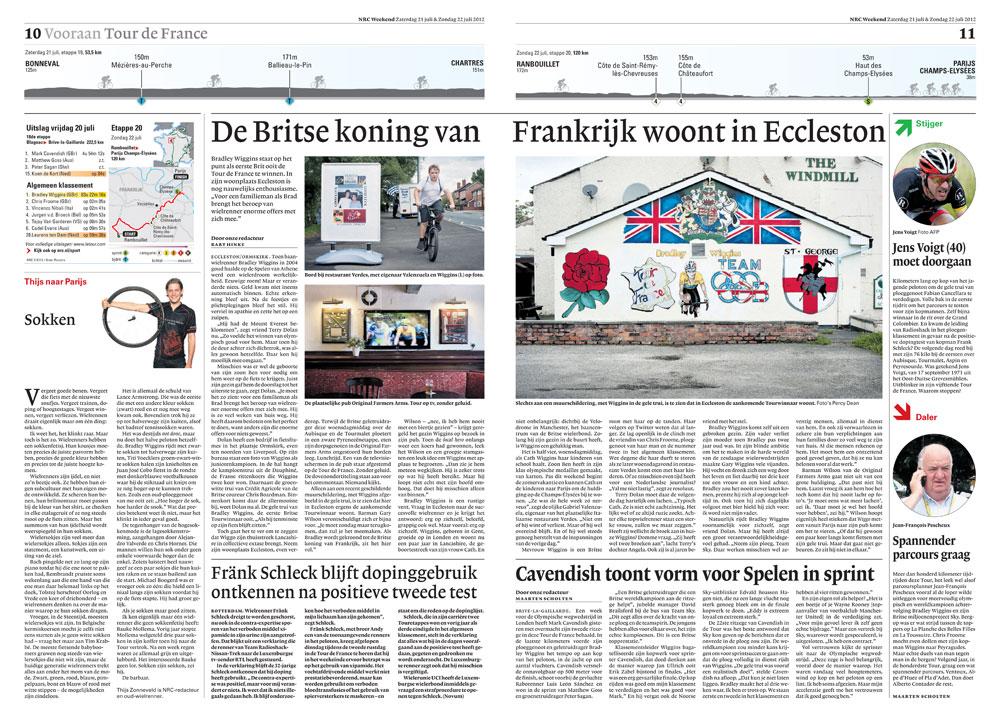 Saturday's spread for Dutch newspaper, The NRC Handelsblad